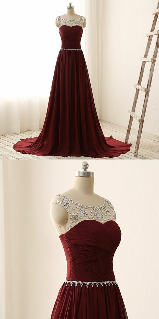 Burgundy Chiffon Prom Dress,Long Homecoming Dress, Back to Schoold Party Gown