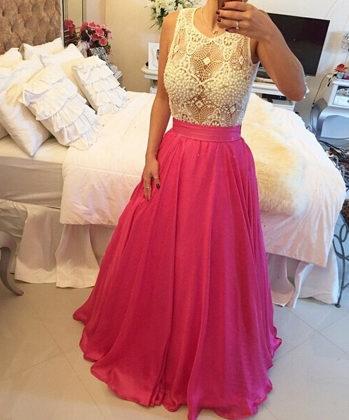 Two Pieces Prom Dress with Removable Skirt,Long Homecoming Dress, Back to