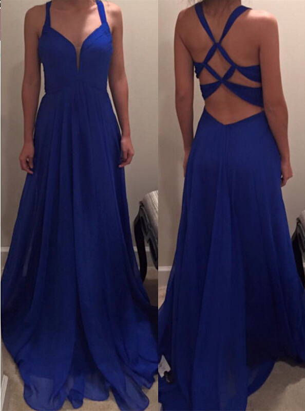 Sexy Royal Blue Prom Dress with Sleeves,Long Homecoming Dress, Back to Schoold