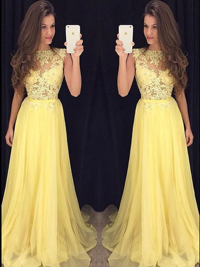 Yellow Prom Dress ,Long Homecoming Dress, Back to Schoold Party Gown