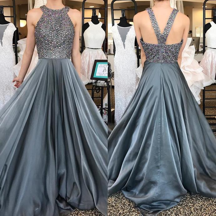 Grey Halter Prom Dress 2019,Long Homecoming Dress, Back to Schoold Party Gown