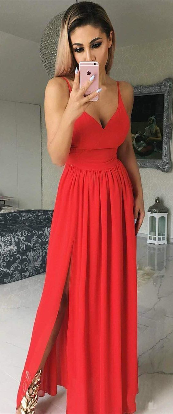 Sexy Simple Prom Dress V Neckline,Long Homecoming Dress, Back to Schoold Party