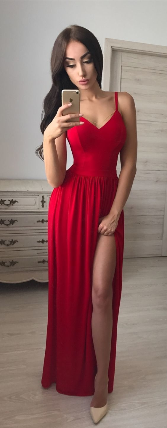 Sexy Red Prom Dress with Slit,Long Homecoming Dress, Back to Schoold Party Gown