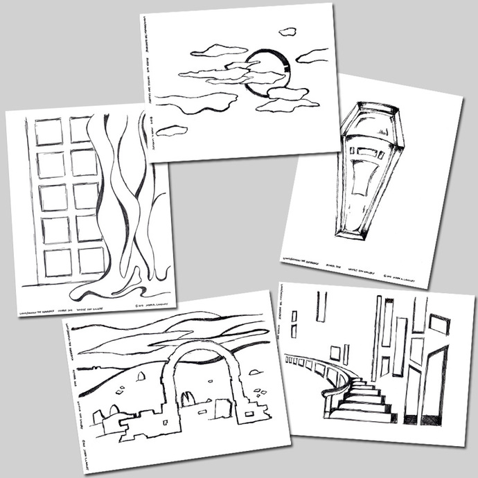 Original hand-drawn Halloween themed coloring sheets - downloadable
