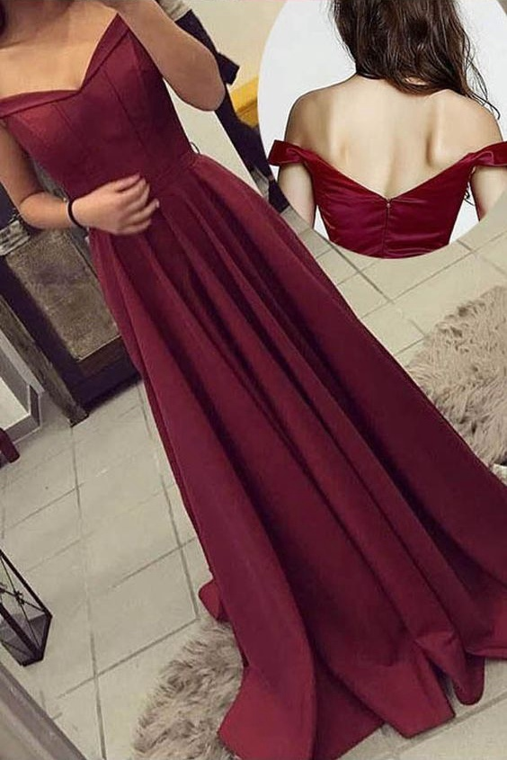 Simple Prom Dress Off The Shoulder Strap, Long Homecoming Dress, Back to Schoold