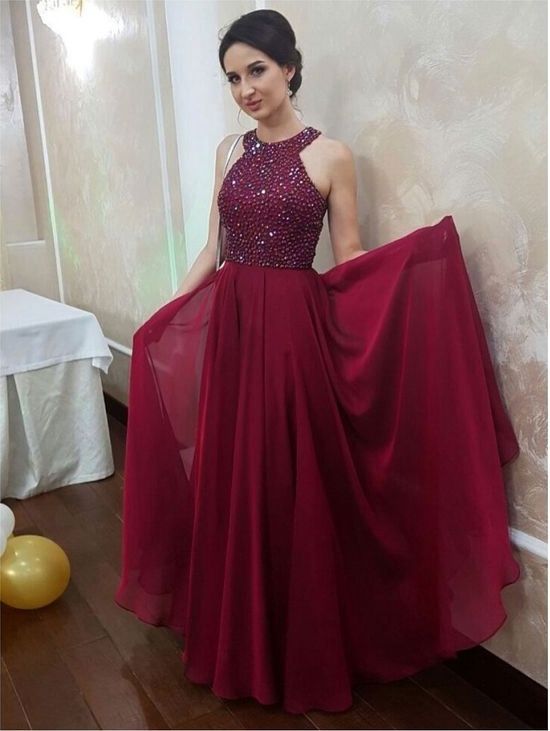 2019 Halter Prom Dress,Long Homecoming Dress, Back to Schoold Party Gown