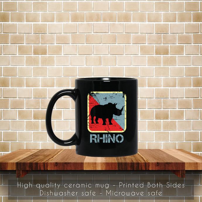 Rhino Endangered Leather Family Coffee Mug, Tea Mug, Rhino Coffee Mug, Rhino