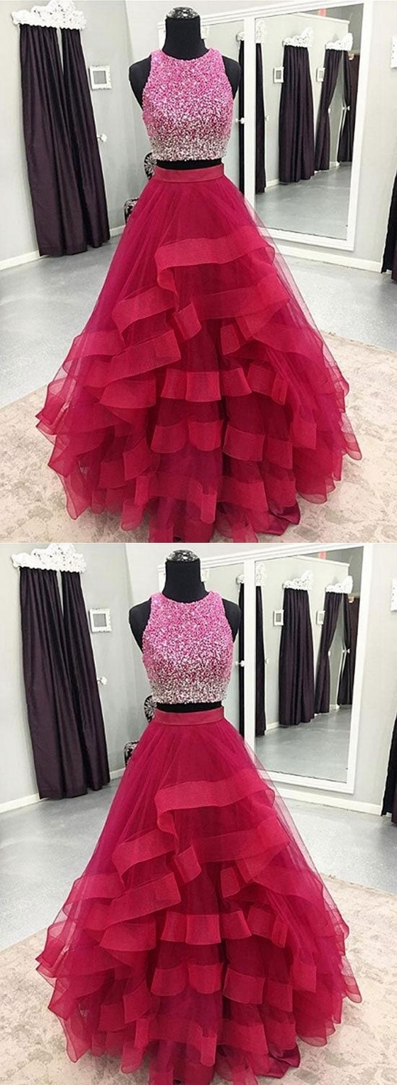 Two Pieces Prom Dress,Long Homecoming Dress, Back to Schoold Party Gown
