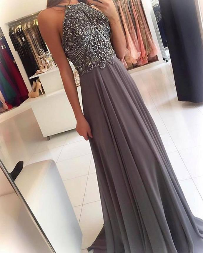 Halter Prom Dress,Long Homecoming Dress, Back to Schoold Party Gown