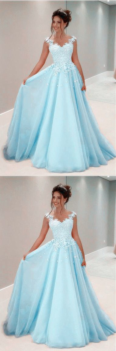 baby blue prom dresses tulle lace cap sleeves evening gowns