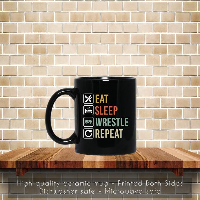 Wrestling Eat Sleep Repeat Coffee Mug, Wrestling Mug, Eat Coffee Mug, Sleep Tea
