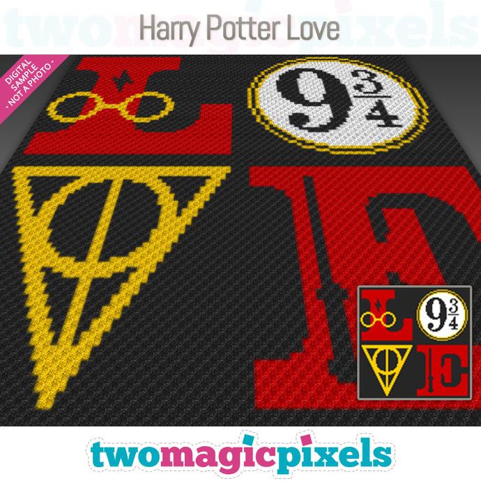 Harry Potter Love crochet graph (C2C, Mini C2C, SC, HDC, DC, TSS), cross stitch;