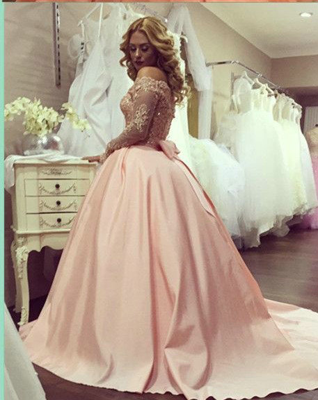 Ball Gown Blush Pink Long Sleeves Lace Wedding Dress