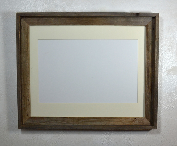 16x20 recycled wood poster frame with 11x17 off white mat