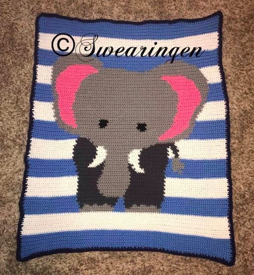 Baby Elephant Pattern - SC - 100x130 - Graph w/Written