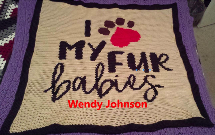 I LOVE My Fur Babies Pattern - SC - 144x144 Lapghan - Graph w/Written