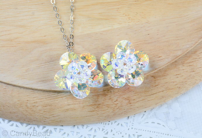 Swarovski Crystal Necklace; Genuine White Aurora Borealis Flower Swarovski