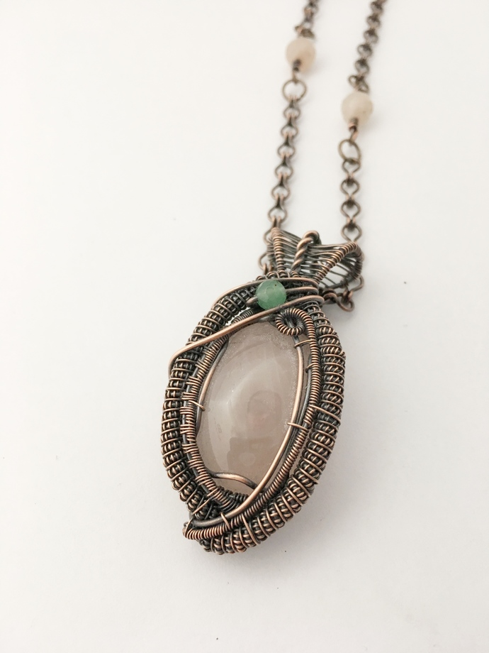 Rose Quartz Heady Wire Wrapped Copper Pendant Necklace