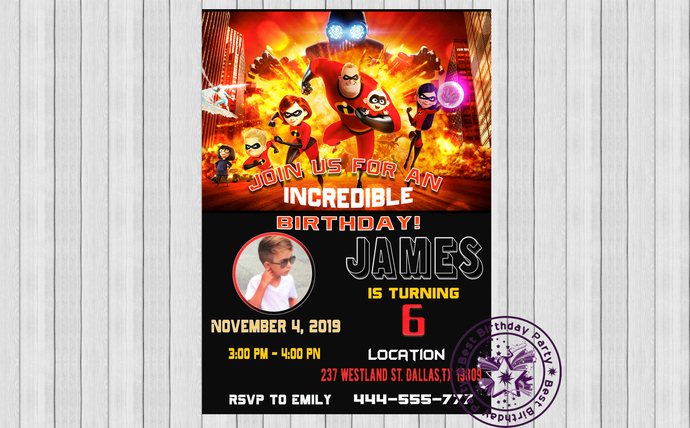 Incredibles birthday invitations, The Incredibles 2 Custom Birthday Party