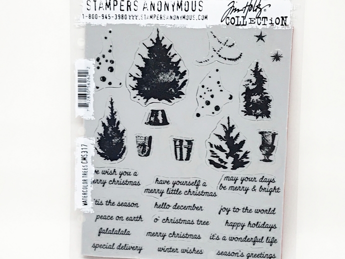 Stampers Anonymous Tim Holtz WATERCOLOR TREES