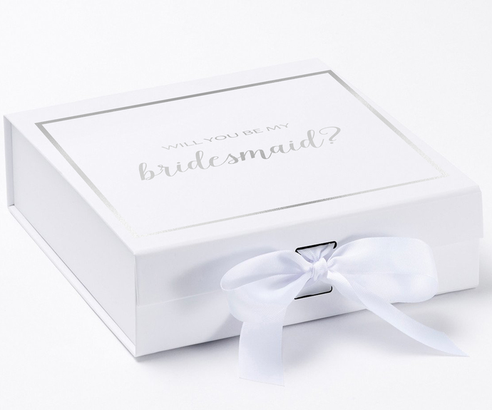 Will You Be My Bridesmaid? Proposal Box White - Silver Font w/ Bow Small