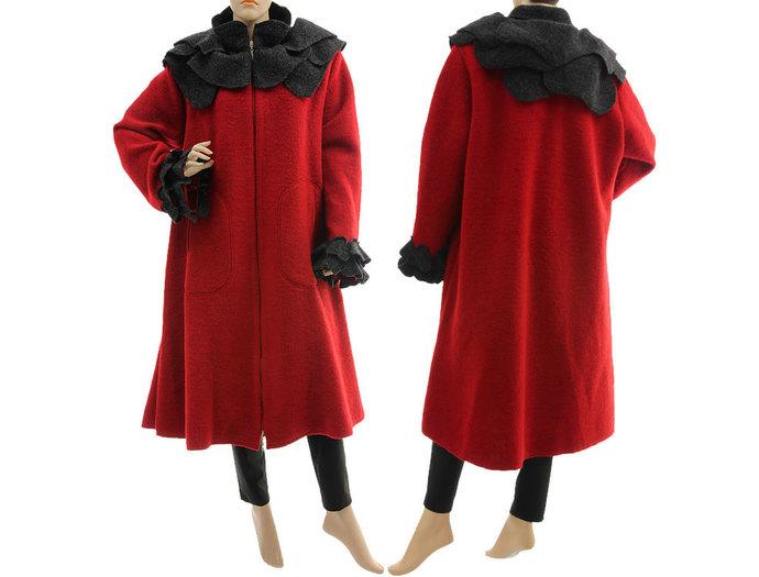 Boho red wool coat, spring fall winter coat with rose collar, coat boiled wool