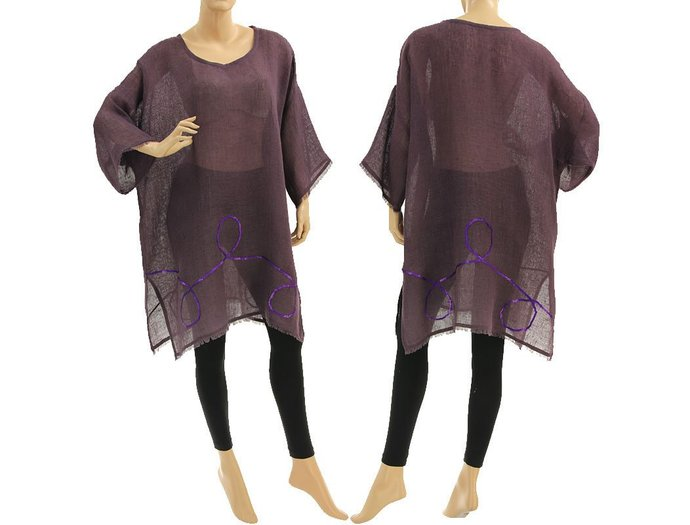 Boho linen summer tunic with sequins, linen gauze beach dress in purple,