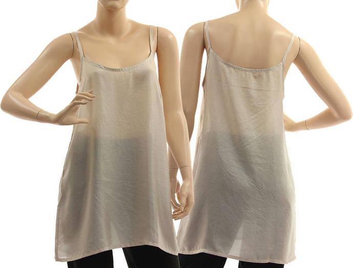 Grey silk slip dress, silk strappy tank top, grey silk lingerie top, grey silk
