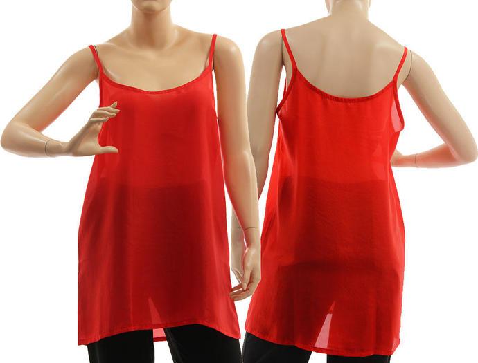 Silk slip dress in red, silk strappy tank top, red silk lingerie top, red silk