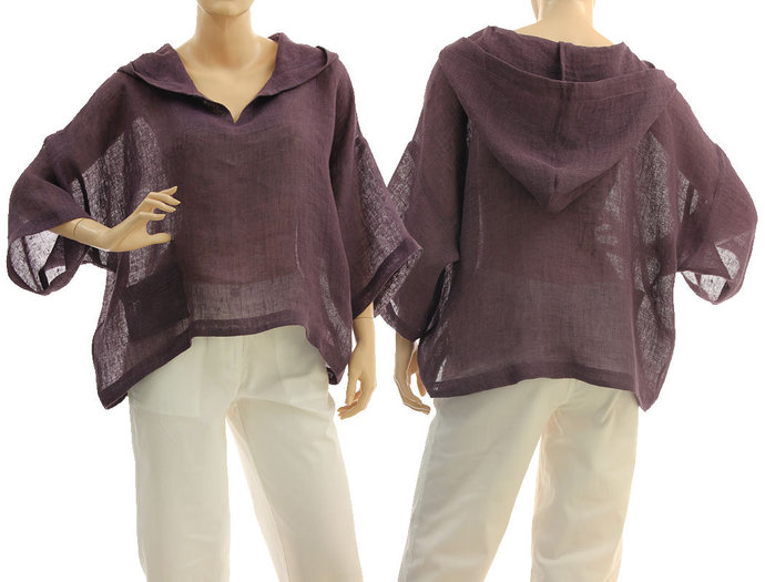 Boho hooded summer linen top in purple, linen gauze hoodie for summer holidays