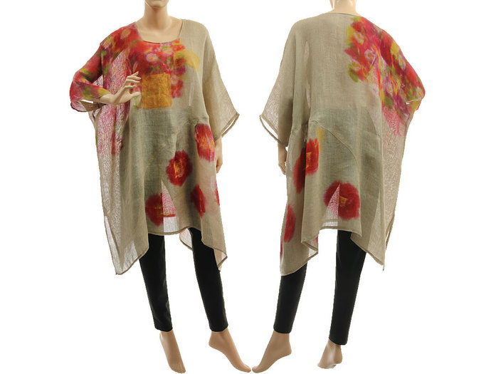 Boho hand painted natural linen tunic, natural linen gauze summer party tunic