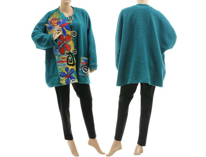 Boho plus size jacket, boiled wool jacket with felt, fall winter lagenlook