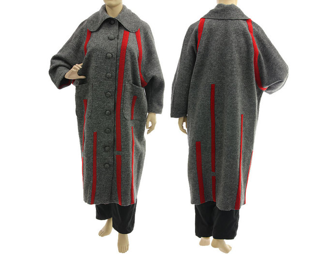 Maxi plus size grey wool coat, long fall winter coat boiled wool in grey with