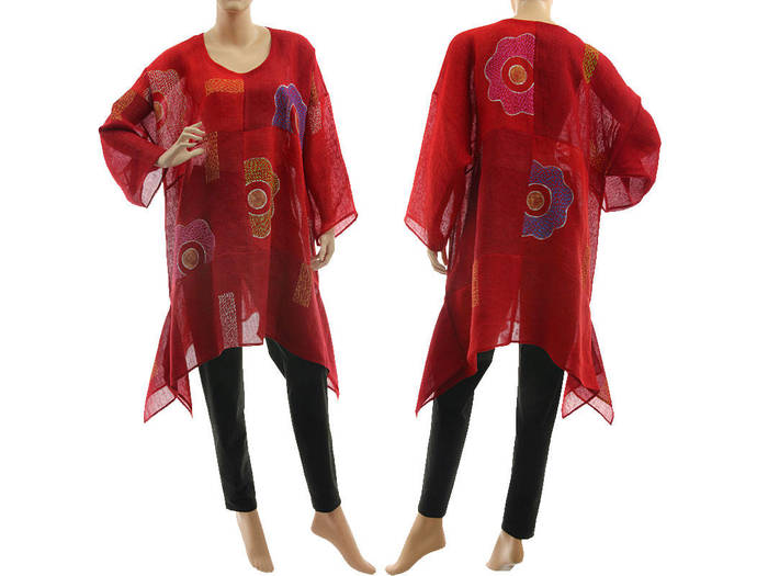 Linen gauze tunic red burgundy hand painted flowers, art to wear linen gauze