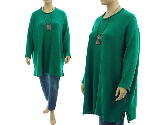 Plus size green merino sweater, oversized merino wool long knitted sweater,