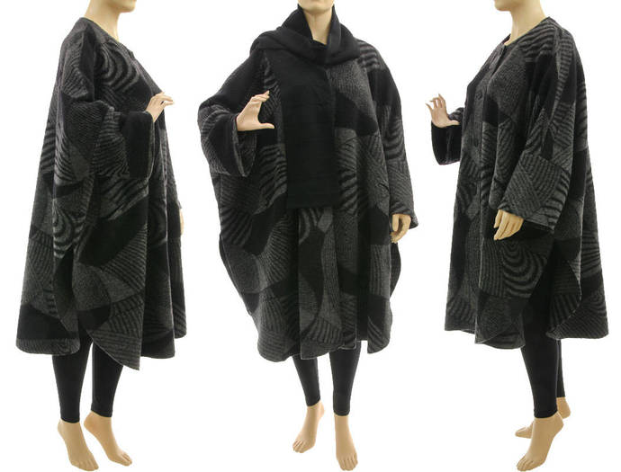 Oversized plus size cape coat from boiled felted wool, black grey lagenlook cape