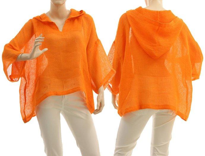 Boho hooded summer linen tunic in orange, linen gauze hoodie for summer holidays