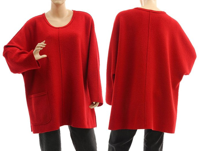 Oversized red wool tunic sweater,  boiled felted merino wool sweater, lagenlook