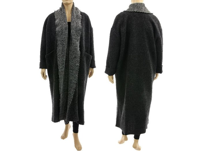 Grey wool maxi plus size coat duster with shawl collar, fall winter spring maxi