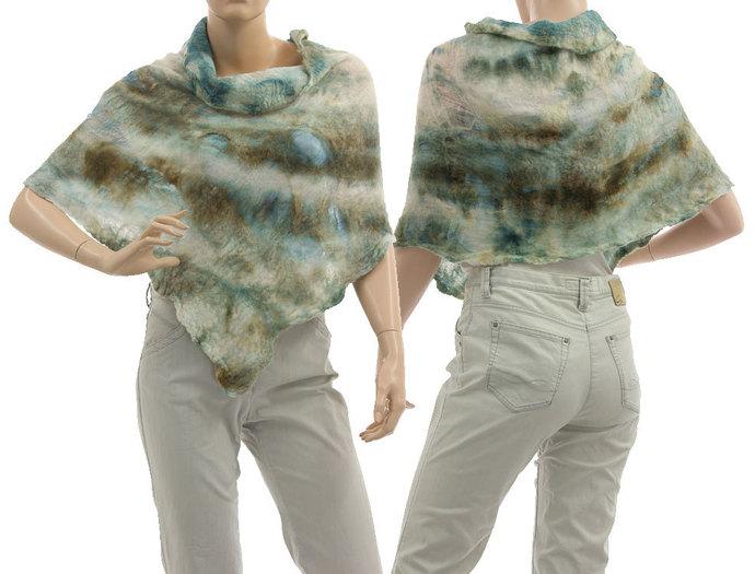 Boho shoulder poncho from silk and felt, poncho in ecru beige blue, gift for
