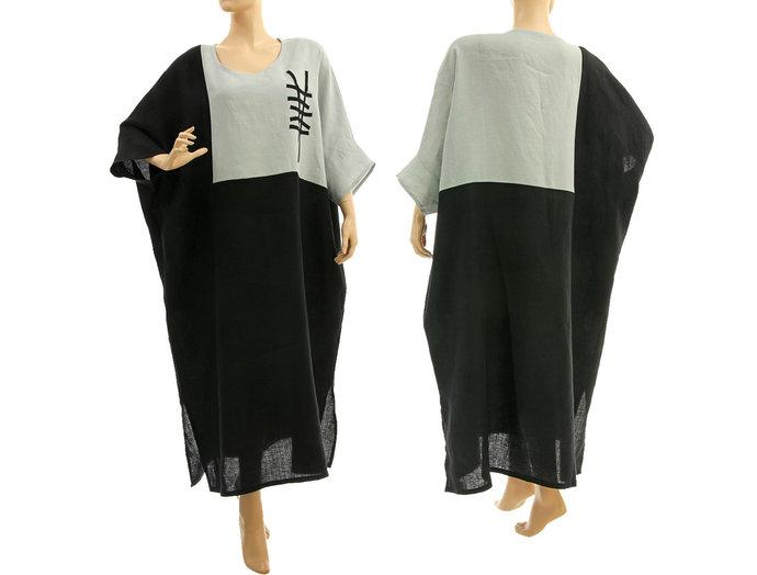 Maxi plus size linen dress black grey, lagenlook plus size maxi linen dress,