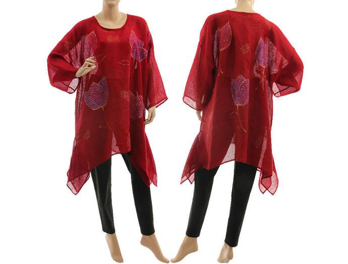 Hand painted linen gauze tunic in burgundy, art to wear dark red linen gauze