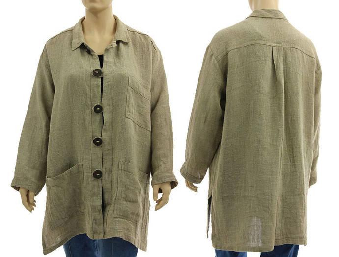 Oversized plus size natural linen shirt, beige loose linen blouse, lagenlook