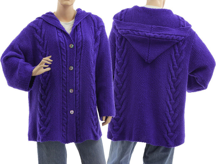 Hand knitted plus size hooded blue sweater, oversized hooded cabled textured