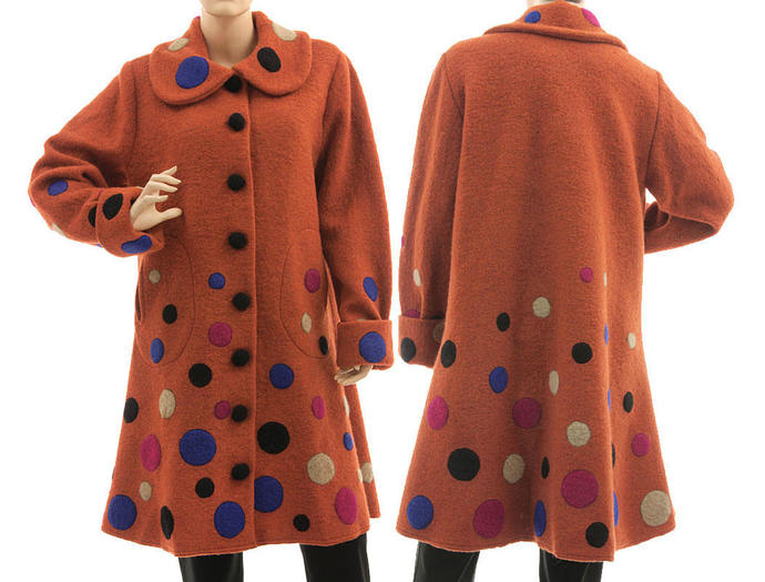 Wool coat in rust with polka dots appliqués, medium to plus size fall winter