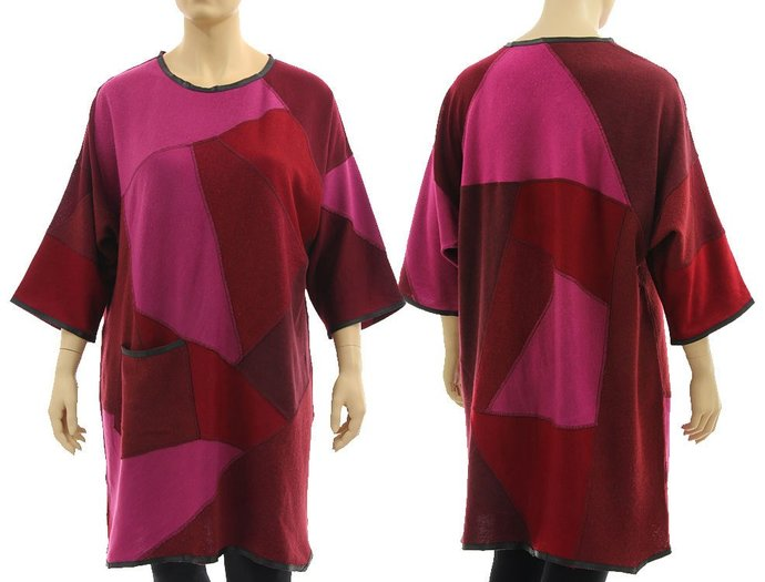 Plus size sweater dress tunic pink red, oversized patchwork burgundy knitted
