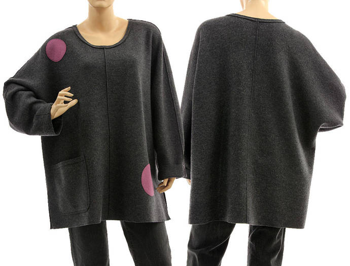Grey plus size tunic sweater boiled felted merino wool, oversized batwing grey