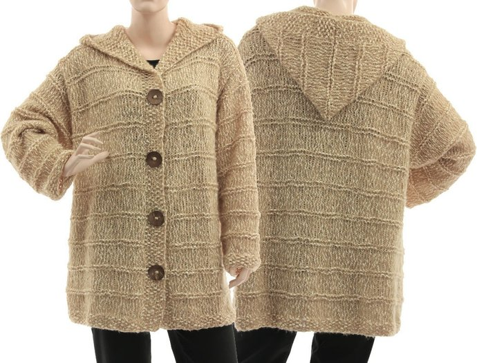Hand knitted plus size hooded sweater cardi beige ecru, oversize textured