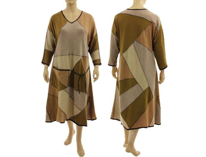 Beige brown plus size sweater dress, wool maxi sweater dress, patchwork knitted