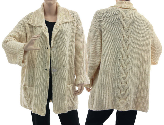 Hand knitted plus size ecru sweater, oversized sweater cardi cabled + textured,